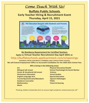 Early Teacher Hiring Recruitment Event Job In Buffalo Ny 14202 Jobs4women
