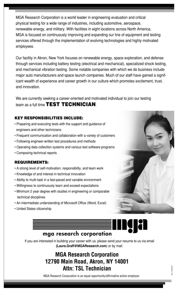 mga research corporation job application for test technician about the job